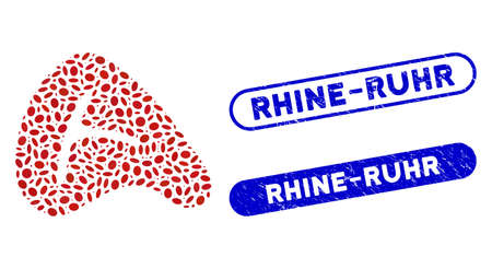 Mosaic meat steak and distressed stamp seals with Rhine-Ruhr text. Mosaic vector meat steak is formed with randomized ellipse elements. Rhine-Ruhr stamp seals use blue color,