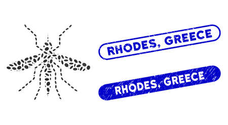 Mosaic mosquito and grunge stamp seals with Rhodes, Greece phrase. Mosaic vector mosquito is created with randomized ellipse items. Rhodes, Greece seals use blue color, and have round rectangle shape.