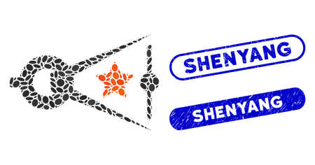 Mosaic quality inspection and corroded stamp watermarks with Shenyang text. Mosaic vector quality inspection is designed with random elliptic dots. Shenyang stamp seals use blue color,