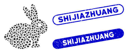 Mosaic rabbit and corroded stamp seals with Shijiazhuang caption. Mosaic vector rabbit is composed with random elliptic dots. Shijiazhuang stamp seals use blue color, and have rounded rectangle shape.