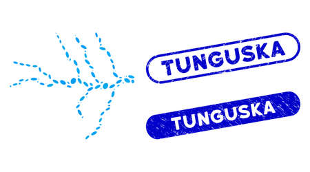 Mosaic river and grunge stamp seals with Tunguska caption. Mosaic vector river is formed with random oval elements. Tunguska seals use blue color, and have round rectangle shape.