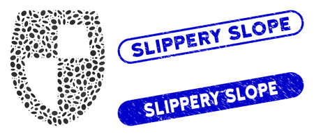 Mosaic shield and distressed stamp seals with Slippery Slope caption. Mosaic vector shield is created with random elliptic spots. Slippery Slope stamp seals use blue color,