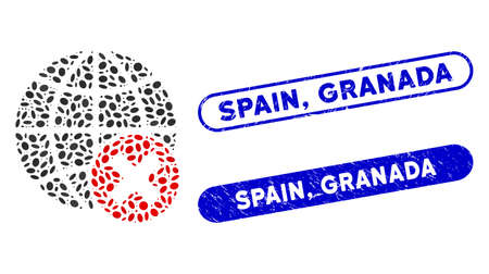 Mosaic stop globalization and rubber stamp seals with Spain, Granada text. Mosaic vector stop globalization is formed with random oval items. Spain, Granada stamp seals use blue color,