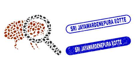 Mosaic total flea control and grunge stamp seals with Sri Jayawardenepura Kotte phrase. Mosaic vector total flea control is created with scattered elliptic spots.