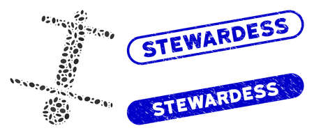 Mosaic unstable man and distressed stamp seals with Stewardess text. Mosaic vector unstable man is composed with random elliptic elements. Stewardess stamp seals use blue color, Vetores