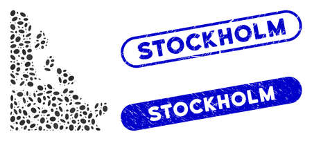 Mosaic unstable rock stones and rubber stamp seals with Stockholm phrase. Mosaic vector unstable rock stones is designed with random oval elements. Stockholm stamp seals use blue color,