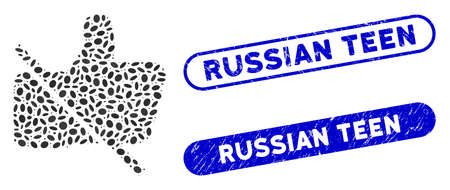 Mosaic no likes and distressed stamp watermarks with Russian Teen phrase. Mosaic vector no likes is formed with randomized ellipse elements. Russian Teen stamp seals use blue color,