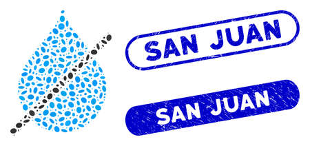 Mosaic no water drop and rubber stamp watermarks with San Juan phrase. Mosaic vector no water drop is composed with scattered oval items. San Juan stamp seals use blue color,