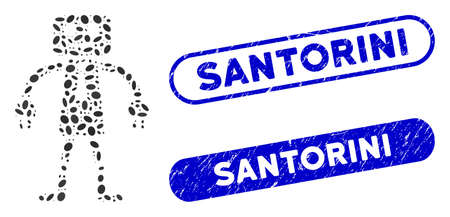 Mosaic official robot and grunge stamp seals with Santorini caption. Mosaic vector official robot is composed with randomized elliptic dots. Santorini stamp seals use blue color,