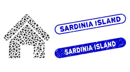 Mosaic old home and rubber stamp watermarks with Sardinia Island caption. Mosaic vector old home is formed with scattered elliptic spots. Sardinia Island stamp seals use blue color,