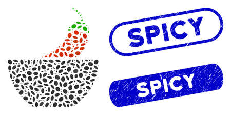 Mosaic spicy food and corroded stamp watermarks with Spicy text. Mosaic vector spicy food is formed with scattered elliptic items. Spicy stamp seals use blue color, and have rounded rectangle shape.