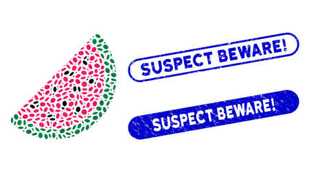 Collage watermelon piece and grunge stamp seals with Suspect Beware! caption. Mosaic vector watermelon piece is designed with scattered ellipse spots. Suspect Beware! stamp seals use blue color, Vettoriali