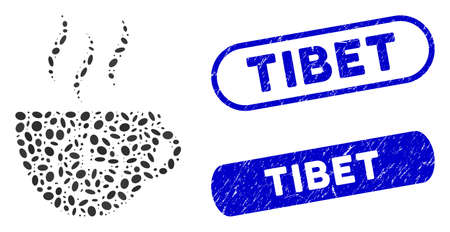 Collage coffee time and rubber stamp seals with Tibet text. Mosaic vector coffee time is formed with scattered ellipse items. Tibet seals use blue color, and have rounded rectangle shape. Illusztráció