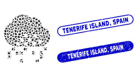 Mosaic cloud dissipation and grunge stamp seals with Tenerife Island, Spain phrase. Mosaic vector cloud dissipation is composed with random elliptic items. Tenerife Island,