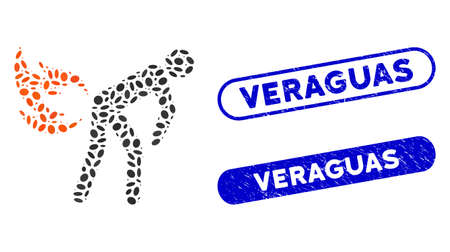 Mosaic fire farting and corroded stamp seals with Veraguas caption. Mosaic vector fire farting is created with random ellipse spots. Veraguas seals use blue color, and have round rectangle shape.