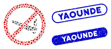 Mosaic no smoking cannabis and rubber stamp seals with Yaounde text. Mosaic vector no smoking cannabis is formed with scattered elliptic elements. Yaounde stamp seals use blue color,