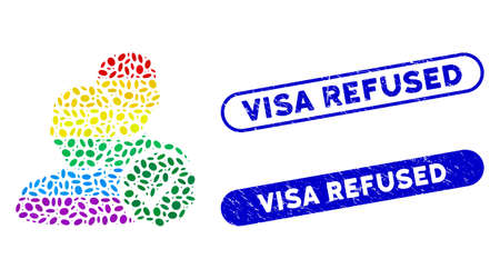 Mosaic for gays and distressed stamp seals with Visa Refused caption. Mosaic vector for gays is designed with scattered ellipse elements. Visa Refused seals use blue color,