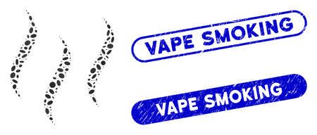 Mosaic aroma steam and grunge stamp seals with Vape Smoking phrase. Mosaic vector aroma steam is composed with random oval spots. Vape Smoking stamp seals use blue color, Иллюстрация