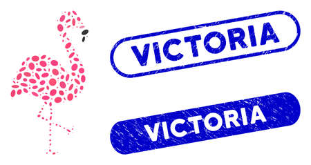 Mosaic flamingo and distressed stamp seals with Victoria phrase. Mosaic vector flamingo is created with scattered elliptic dots. Victoria stamp seals use blue color, and have round rectangle shape.