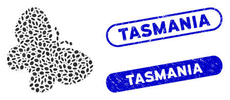 Mosaic butterfly and corroded stamp seals with Tasmania text. Mosaic vector butterfly is composed with scattered elliptic elements. Tasmania stamp seals use blue color,