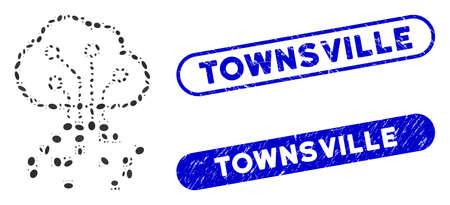 Mosaic digital cloud and grunge stamp seals with Townsville text. Mosaic vector digital cloud is designed with random elliptic items. Townsville stamp seals use blue color,