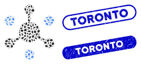 Mosaic data network and rubber stamp seals with Toronto caption. Mosaic vector data network is designed with scattered ellipse items. Toronto stamp seals use blue color,
