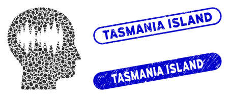 Mosaic brain waves and rubber stamp seals with Tasmania Island text. Mosaic vector brain waves is designed with randomized ellipse elements. Tasmania Island seals use blue color,