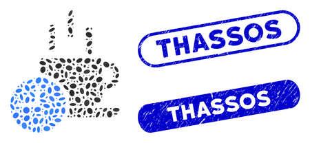 Mosaic coffee break and grunge stamp seals with Thassos text. Mosaic vector coffee break is composed with randomized elliptic items. Thassos stamp seals use blue color,