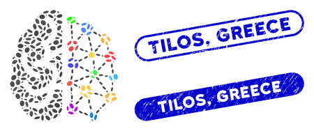 Mosaic creative brain and grunge stamp seals with Tilos, Greece text. Mosaic vector creative brain is designed with randomized ellipse dots. Tilos, Greece stamp seals use blue color,