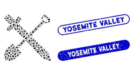 Mosaic sword and shovel and grunge stamp seals with Yosemite Valley caption. Mosaic vector sword and shovel is formed with randomized ellipse spots. Yosemite Valley stamp seals use blue color,