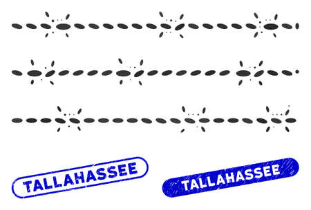 Mosaic barbwire fence and corroded stamp seals with Tallahassee phrase. Mosaic vector barbwire fence is created with randomized ellipse elements. Tallahassee stamp seals use blue color,