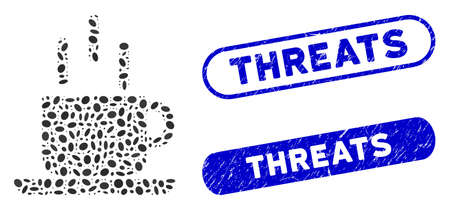 Mosaic coffee mug and distressed stamp seals with Threats caption. Mosaic vector coffee mug is composed with randomized oval dots. Threats stamp seals use blue color, and have rounded rectangle shape.