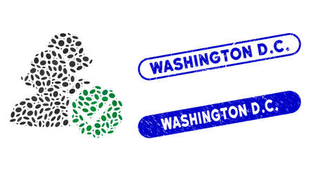 Mosaic for women and rubber stamp watermarks with Washington D.C. phrase. Mosaic vector for women is created with random ellipse spots. Washington D.C. stamp seals use blue color,