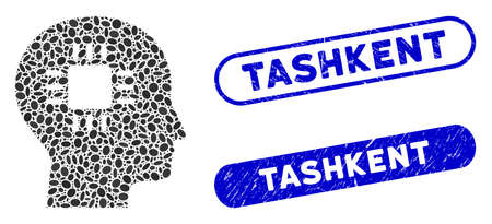 Mosaic brain processor and grunge stamp seals with Tashkent text. Mosaic vector brain processor is composed with random ellipse items. Tashkent stamp seals use blue color,