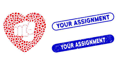 Mosaic only your heart and rubber stamp seals with Your Assignment caption. Mosaic vector only your heart is created with randomized ellipse spots. Your Assignment stamp seals use blue color, Vettoriali