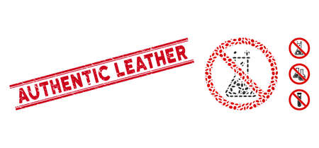 Rubber red stamp seal with Authentic Leather caption between double parallel lines, and collage no chemical reaction icon.