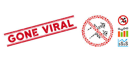 Rubber red stamp seal with Gone Viral phrase between double parallel lines, and collage no trend arrows icon. Mosaic vector is designed with no trend arrows icon and with scattered elliptic elements. Ilustração