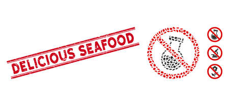 Grunge red stamp watermark with Delicious Seafood phrase inside double parallel lines, and mosaic no chemical retort icon.