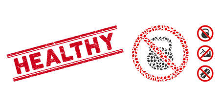 Grunge red stamp seal with Healthy caption between double parallel lines, and mosaic no heavy weight icon. Mosaic vector is designed with no heavy weight icon and with randomized ellipse spots.
