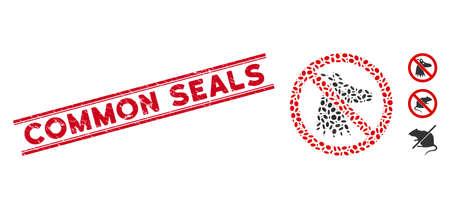 Distressed red stamp seal with Common Seals phrase between double parallel lines, and collage no fox icon. Mosaic vector is created with no fox icon and with randomized ellipse elements.