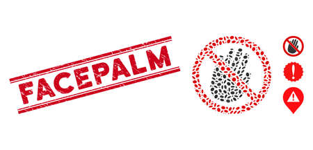 Rubber red stamp watermark with Facepalm caption inside double parallel lines, and collage restricted hand icon. Mosaic vector is designed with restricted hand icon and with randomized oval items.