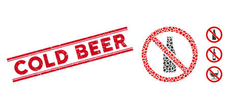 Rubber red stamp seal with Cold Beer phrase inside double parallel lines, and mosaic no beer bottle icon. Mosaic vector is designed with no beer bottle icon and with scattered ellipse elements.