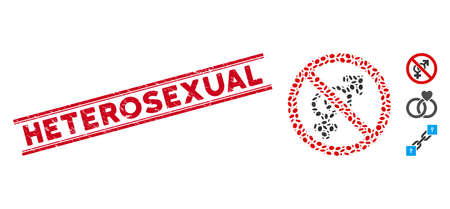 Rubber red stamp watermark with Heterosexual text inside double parallel lines, and mosaic no sex icon. Mosaic vector is created from no sex icon and with scattered oval items.