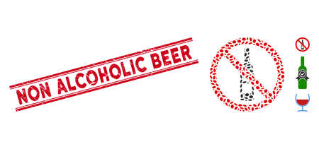 Rubber red stamp watermark with Non Alcoholic Beer text inside double parallel lines, and mosaic no wine bottle icon.