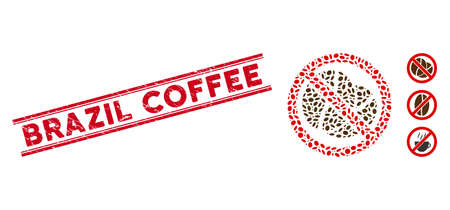 Corroded red stamp watermark with Brazil Coffee text between double parallel lines, and mosaic no caffeine icon. Mosaic vector is formed with no caffeine pictogram and with randomized elliptic spots. Vector Illustratie