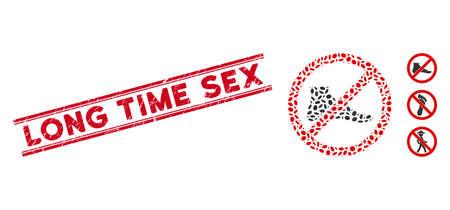Distressed red stamp seal with Long Time Sex text inside double parallel lines, and mosaic no barefoot icon. Mosaic vector is created with no barefoot pictogram and with scattered ellipse elements.