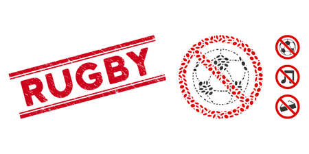 Grunge red stamp seal with Rugby text between double parallel lines, and mosaic no football icon. Mosaic vector is designed with no football pictogram and with random ellipse elements. Ilustração