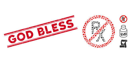 Rubber red stamp seal with God Bless text inside double parallel lines, and mosaic no receipt icon. Mosaic vector is created with no receipt pictogram and with scattered elliptic items.
