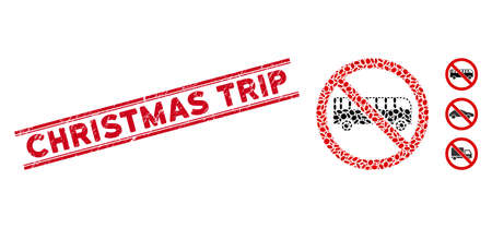 Corroded red stamp seal with Christmas Trip caption between double parallel lines, and mosaic no bus icon. Mosaic vector is formed with no bus icon and with scattered oval spots. 일러스트