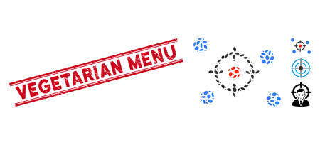 Rubber red stamp seal with Vegetarian Menu caption between double parallel lines, and collage selective icon. Mosaic vector is formed with selective icon and with randomized ellipse items. Illustration